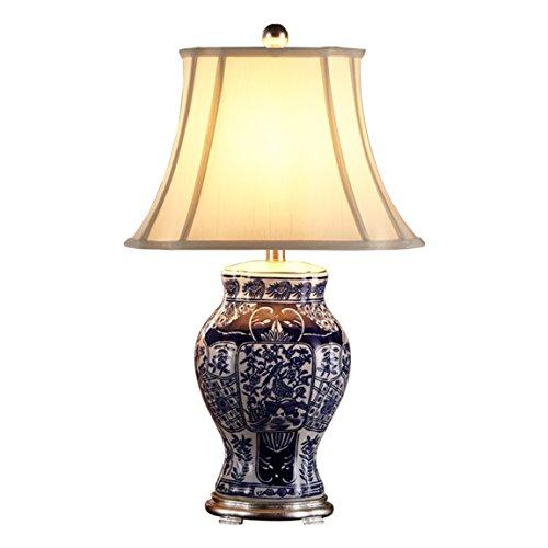 LRW Chinesische Keramik Lampe Schlafzimmer Nachttischlampe Kreative Einfache Moderne Wohnzimmer Warm Hotel Chinesische Harfe