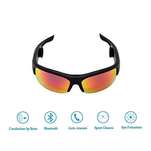 ainovicky Sonnenbrille Bone Conduction Kopfhörer Bluetooth Headset Brille mit 2Paar Extra Objektiv, 1Paar Schaumstoff-Ohrstöpsel und 1Glas Reinigung cloth-black (Bone Conduction Kopfhörer)
