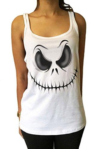 Jersey Tank Top Halloween Scary Kostüm Schädel Kürbis Gesicht Tote (Halloween Kostüme Top Scary)