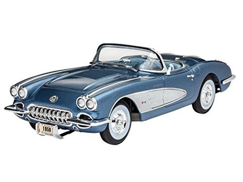 Revell Modellbausatz Auto 1:25 - '58 Corvette Roadster im Maßstab 1:25, Level 4, originalgetreue Nachbildung mit vielen Details, 07037