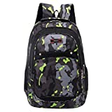 Saingace Rucksäcke,Teenager-Mädchen-Jungen-Tarnung, die Schulrucksack-Studenten-Taschen Druckt (Grün)