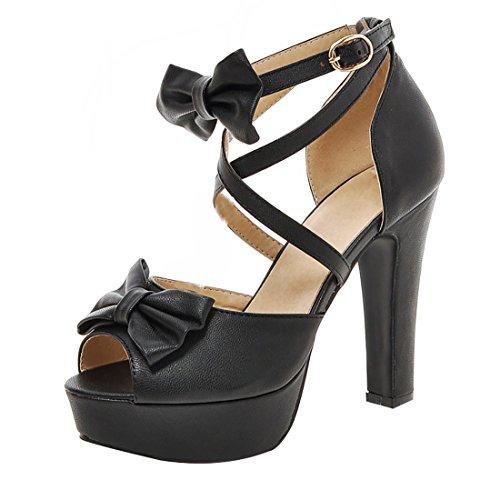 Damen Blockabsatz Peep Toe High Heels Plateau Knöchelriemchen Pumps mit Schleife und Schnalle Party Schuhe (High-heels Peep-toe-pump)