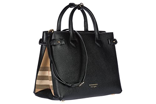 Handtasche Burberry Damen Leder Schwarz, Check Burberry und Gold 4023693 Schwarz 16x25x35 cm -