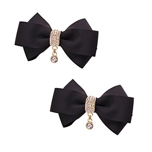 Tooky - fiocco per scarpe con pendente in cristalli, removibile con clip, decorazione per matrimonio - confezione da 2 e lega, colore: nero , cod. tooky-m5