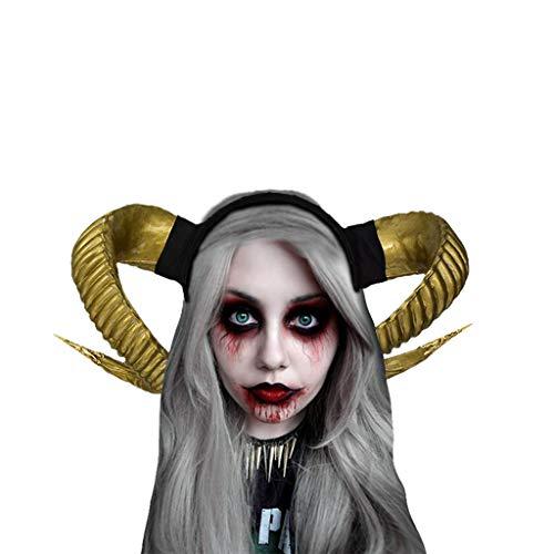 Hollywood Exotische Kostüm - Halloween Hexe Kopfschmuck Damen Karneval Party Maskerade Ball Prom Gothic Ziegenhorn Stirnband Stirnbänder Festliche Cosplay Kostüm Haarschmuck Schwarz Evil Queen Cosplay Stirnbänder