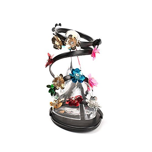 Ideal Shoes - Sandales style spartiate décorées de fleurs Laeticia Noir