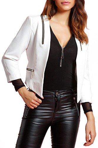 INFINIE PASSION - zips dorés - Veste courte blanche Blanc