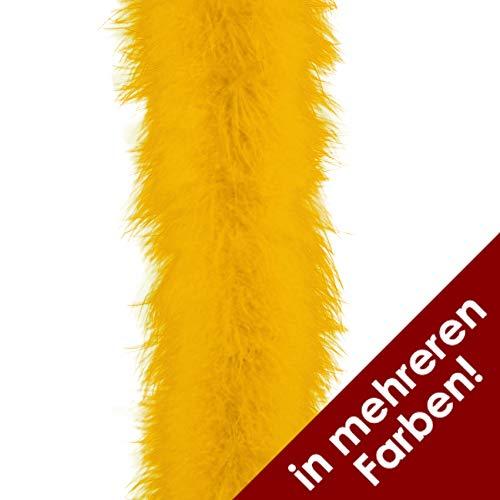 Marabu-Federn in gelb   Länge: 2 Meter   Marabu-Besatz für Kostüme und Hüte zu Karneval und Fasching (gelb)