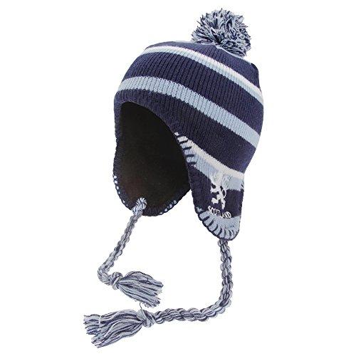 Bonnet péruvien style Scotland - Enfant (Taille unique) (Bleu marine/Bleu/Blanc)