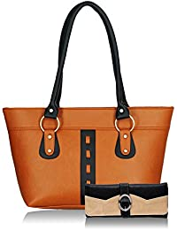 Fristo Women Handbag And Wallet Combo(FRWC-054)Tan And Black