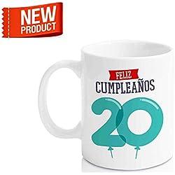 """Taza Cerámica para Desayuno en Color Blanco de 300 ml, Un Regalo Original para Aniversarios - """"Feliz 20 Cumpleaños"""""""