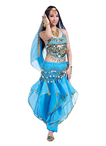 YiJee Damen Bauchtanz Kostüme Ein Sechs-Stück Set See Blau (Blaue Bauchtanz Kostüm)