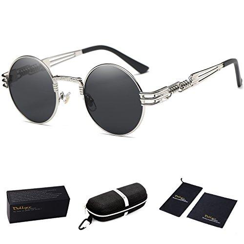 Dollger John Lennon Round Sunglasses Steampunk Metal Classic Frame Mirror Lens(C1:Black Lens+ Silver Frame) steampunk buy now online