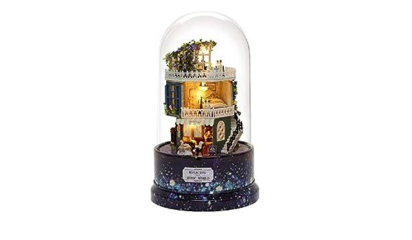 Carillon Girevole con Copertura Antipolvere XuBa casa delle Bambole Fai da Te in Miniatura Regalo di Compleanno B026#D B026 casa delle Bambole con mobili