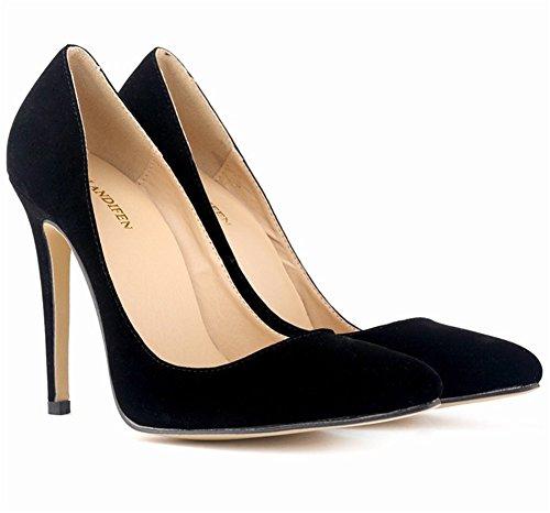 De Simples Camurça Salto Bombas Wealsex Confortáveis De Salto Estilo Preto De Sapatos Alto Apontou Das Senhoras Stylish Mulheres Alto sapatos FqIwRn8FU