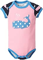 Hatley Baby Girls 0-24m Infant Envelope Neck One Piece Girl Whales Bodysuit