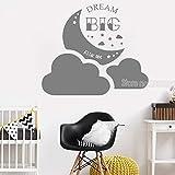 woyaofal Dream Big Little One Clouds Wandaufkleber Aufkleber Für Kinder Schlafzimmer Vinyl Aufkleber Kunst Baby Kindergarten Wohnzimmer Kunstwand 83x71 cm