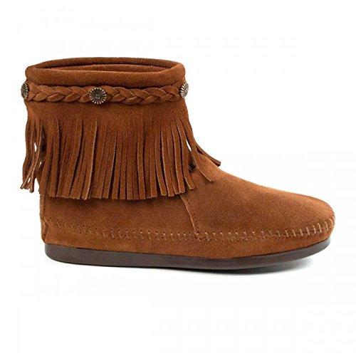 Minnetonka Hi Top Back Zipper knöchelhohe Fransen Damen Booties aus Wildleder mit Fußbett und Laufsohle aus Gummi neu Brown
