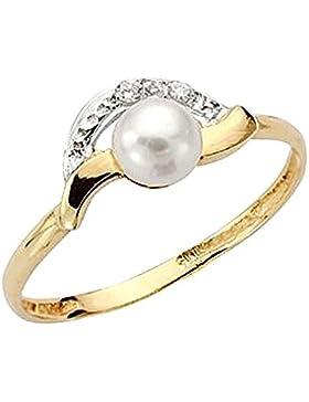 9k Goldring Perle Zirkone Gemeinschaft [AA7519]