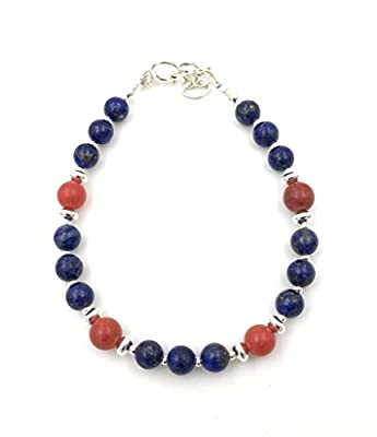 Bracelet en argent, lapis-lazuli et corail