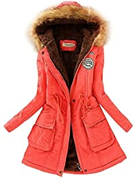 SODIAL(R) Women Hooded Fur Winter Thick Padded Long Coat Outerwear Jacket-Watermelon Red-L