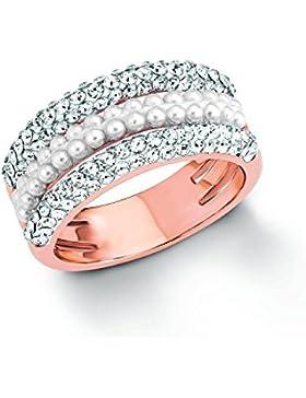Noelani Damen-Ring rosévergoldet veredelt mit Swarovski Kristallen und Glasperlen, 10 mm