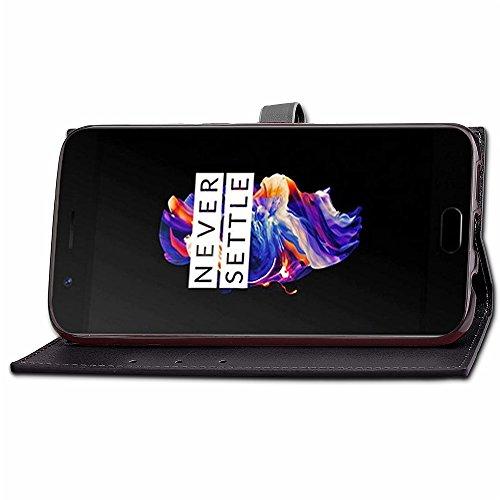 Business Style Mixed Farben Slim Design PU Ledertasche Brieftasche Stand Case [Shockproof] mit Niet Echtes Leder Gürtelschnalle & Kickstand & Card Slots für OnePlus 5 ( Color : Wine ) Black