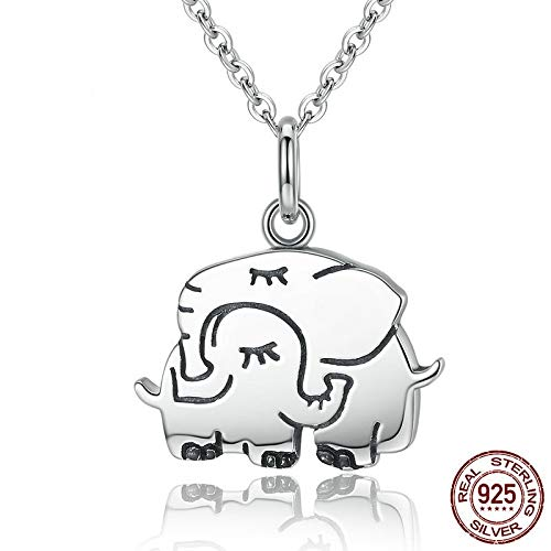 Damen Halskette,S 925 Sterling Silber Halskette Mode Einfach Niedlich Elefant Anhänger Mit Halskette Kette Schlüsselbein Persönlichkeit Wild Schmuck Geburtstag Geschenk Zum Hochzeitstag