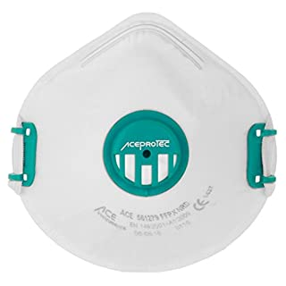 ACE PROTEC FFP3 Valved Dust Mask EN149 | Respirator Mask for Trade and Industry | Protects Against Bacteria, Viruses, Fine Particles | 5 Pack