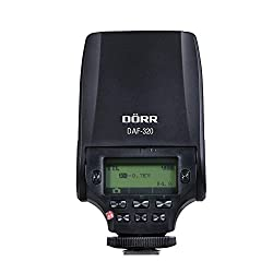Dörr 370303 Systemblitzgerät DAF-320 für Fuji Kamera (Leitzahl 32, TTL-Blitzautomatik, Diffusorvorsatz, Tasche/Standfuß)