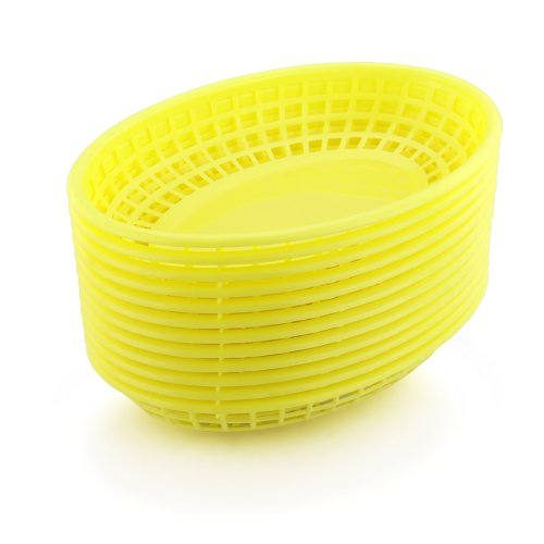 New Star Foodservice 44195 Fast Food Baskets, 9.25 x 6 Inch Oval, Set of 36, Yellow