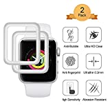 [2 Stück]Aottom Kompatibel Apple Watch 38mm Schutzfolie 3D Panzerglas Folie mit Silber Kanten Apple Watch Series 3 Full Screen Protector 9H HD Displayschutz Smartwatch Apple Watch Panzerglasfolie