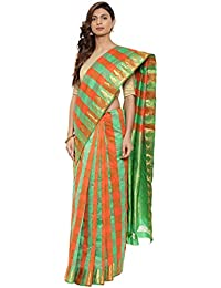 CLASSICATE From the house of The Chennai Silks Traditional Silk Saree (CCMYSS10374 - Green & Orange)