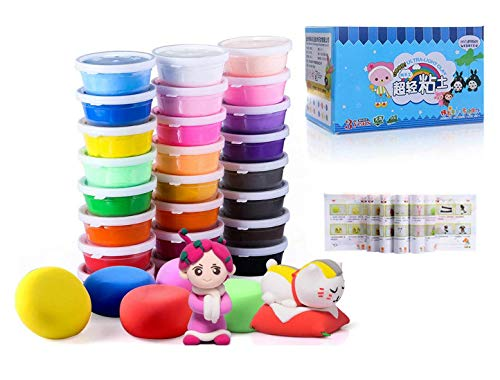 Air Dry Clay, 24 Colors Ultra Light Modeling Clay, iFergoo Magic Clay DIY Creative Modeling Dough with Project Booklet