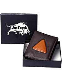 JusTrack Brown Men Genuine Leather Wallet