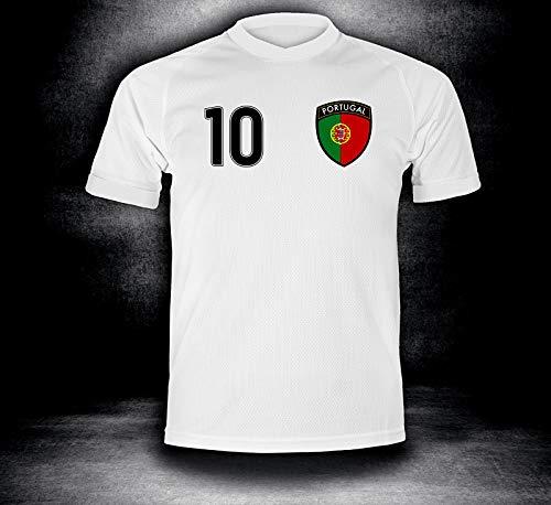ElevenSports Portugal Trikot 2018 mit GRATIS Wunschname + Nummer im EM WM Weiss Typ #PT1t - Geschenke für Kinder Erw. Jungen Baby Fußball T-Shirt Bedrucken