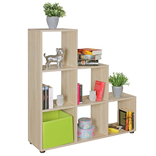 FineBuy Stufenregal Lena Sonoma Eiche Treppenregal für Ordner & Bücher 6 Fächer Holz | Design Raumteiler Regal | Modernes Aktenregal | Bücherregal -