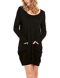 Parabler Damen Rundhals Irregulär Kleid Beiläufiges Langarm Minikleid  T-Shirt Kleid 55f4a46f50