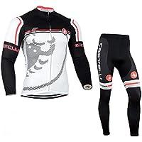 TFGY Hombre Manga Larga Ciclismo Camisetas + Pantalones Largos Gel Pad Ropa Invierno cálido con vellón Conjuntos de Ciclismo Profesional,L