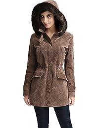 "BGSD Women's ""Chloe"" Hooded Suede Leather Parka Coat"