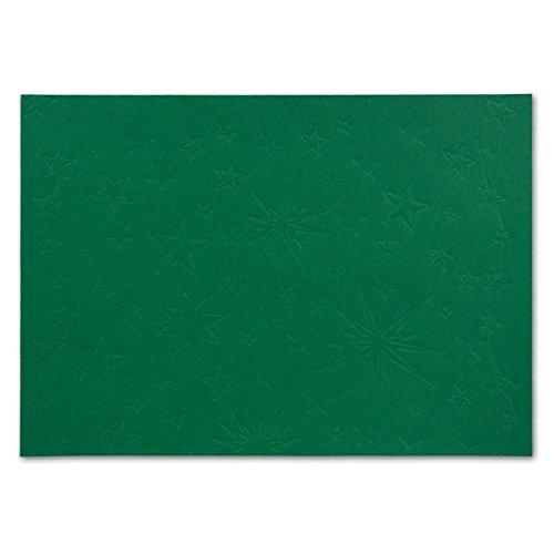 Geprägte Sterne-Karten   20 Karten   Dunkelgrün   DIN A4-210 x 297 mm - ohne Falz/Einfachkarte   mit eingeprägten Sternen   Ideale Bastelkarten für Weihnachten und Einladungen   GUSTAV NEUSER