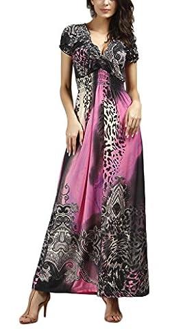 Longue Robe De Plage Été Leopard Femme Soie Imité Col
