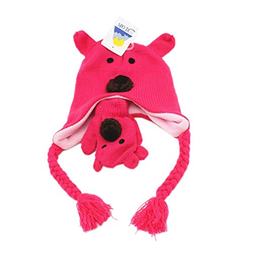 VORCOOL Baby Kinder Niedlichen Cartoon Bär Häkeln Mütze Strickhandschuhe Winter Warme Ohrenschützer Hut Ski Beanie mit Ohrenklappe für Mädchen Jungen