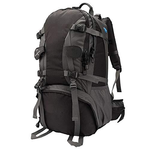 CGQReisebergsteigenbeutel Schulter männliche Reisetasche wasserdicht große kapazität Sport gehen Ultraleicht 60l Liter Outdoor Rucksack, schwarz, 50cm * 30cm * 20cm