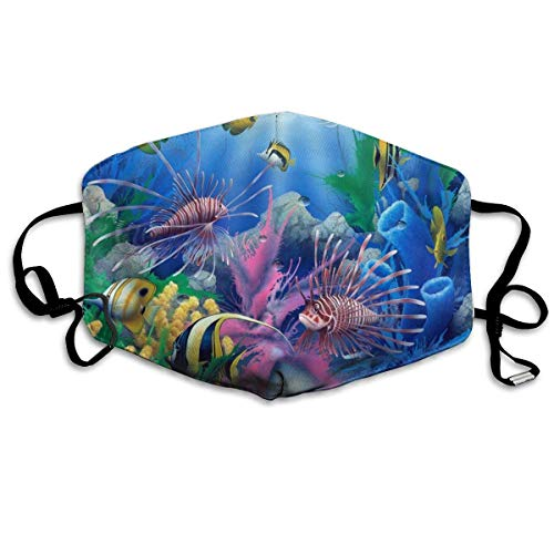 Blue Ocean Tropical Fish Coral Undersea World Anti-Dust Earloop Mouth Mask for Women Men, Anti Flu Pollen Germs Cycling Painting Half Face Mouth Mask - Adjustable Elastic Band Respirator