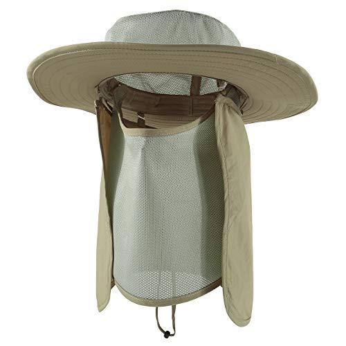Faletony Nackenschutz + Maske Unisex Sonnenhut, UV Schutz Faltbar Buschhut Anglerhut Fischerhüte Safari Hut für Damen Herren (Khaki) Safari-hut Khaki