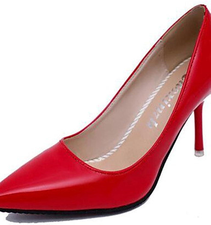 ZQ Zapatos de mujer-Tac¨®n Stiletto-Pump B¨¢sico / Puntiagudos-Tacones-Boda / Oficina y Trabajo / Fiesta y Noche-Cuero...