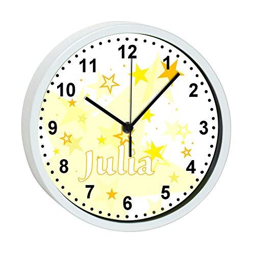 CreaDesign, WU-30-1030-03 Sterne Gelb, Kinder Wanduhr Kinderzimmer lautlos mit Name personalisiert, Rahmen weiß, Ø 19,5 cm