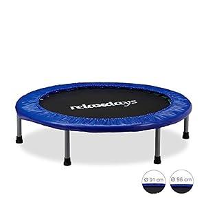 Relaxdays Trampolin Kinder faltbar, max. Personengewicht: 45 kg, Größen 91, 96, 102 cm, Indoor-Trampolin blau-schwarz