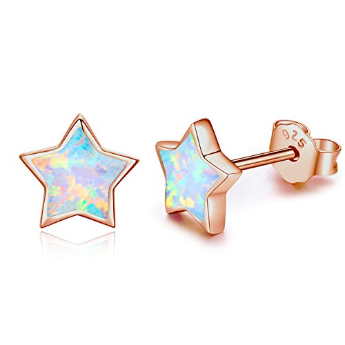 Ohrringe Rose Gold 925 Silber Stern Ohrringe Silber mit Rhodium oder Rose Gold Ohrringe Veredelung für Frauen Damen Mädchen Kinder Schmuck Geschenke (Ohrring-gold Für Frauen)